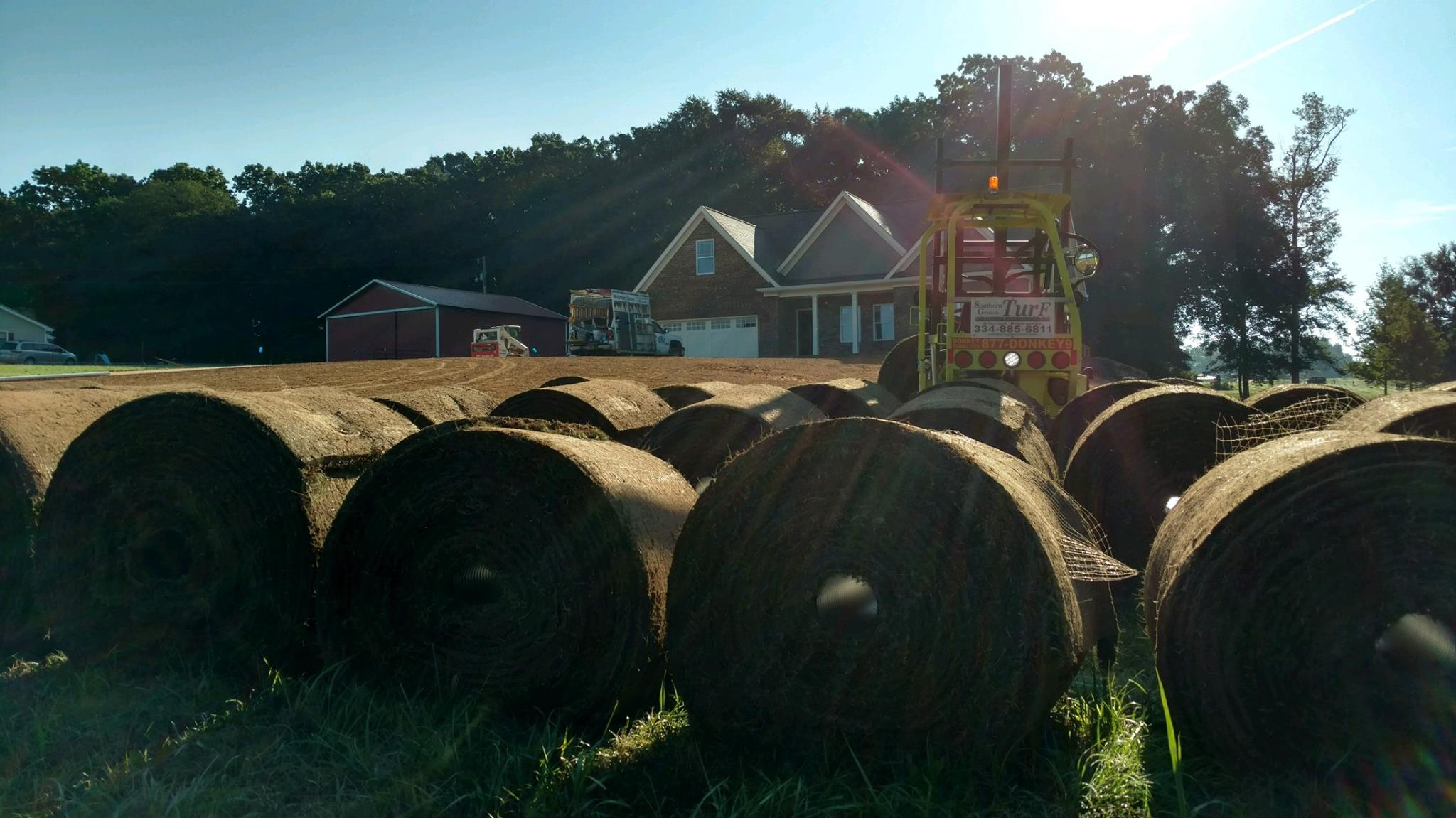 rolls of turf, harvested and ready to sell