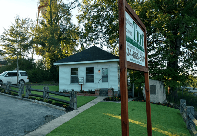 business sign and front entrance of Southern Grown Turf